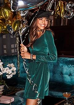 Velvet Long Sleeve Mini Dress product image (F01002.DRKG.1-S)