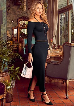 Crop Top and Maxi Skirt Set product image (F01007.BK.1-S)