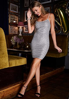 Beaded Sparkle Fitted Mini Dress product image (F01010.SL.2-S)
