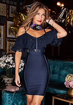 Cold Shoulder Dress product image (F01014.NV.2-S)
