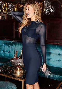 Mesh Top Bodycon Dress product image (F01017.NV.1-S)