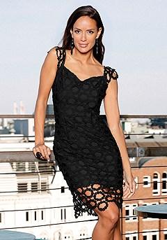 Crochet Cap Sleeve Cocktail Dress product image (F01025BK_1.1)