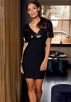 Sequin V-Neck Bodycon Dress product image (F01026BK_1M)