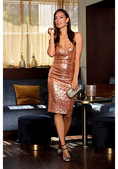Sequin Strapless Bodycon Dress product image (F01027.RSGL_1)