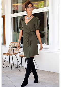 Puff Sleeve Wrap Dress product image (F01031OL_1)