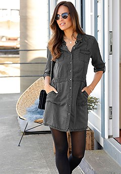 Denim Shirt Dress product image (F01032GYMO_1M)
