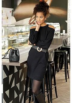 Cold Shoulder Sweater Dress product image (F01035BK_FV)