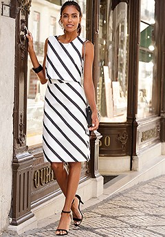 Striped Sheath Dress product image (F01042.BKWH_I)