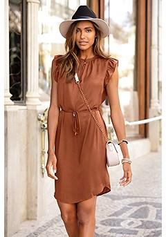 Ruffle Sleeve Dress product image (F01048.BR_I)