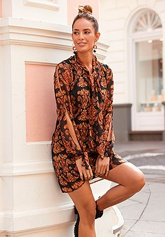 Bow Tie Cold Shoulder Dress product image (F01050MUPR)