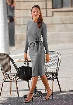 Tie Side Knit Dress product image (F01053GRMO)
