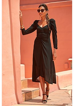 Sweetheart Ruched Dress product image (F01055-BK_1)