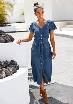 Button Front Dress product image (F01060.DE_1)