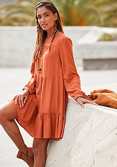 Tiered Long Sleeve Swing Dress product image (F01061RT)