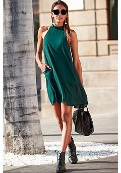 Halter Neck Swing Dress product image (F01062DRKG_1)