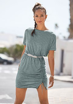 Ruched T-Shirt Dress product image (F01067BLGY_1)