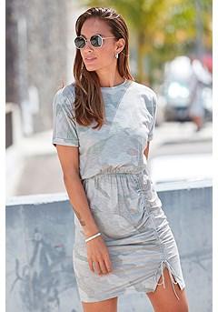 Ruched T-Shirt Dress product image (F01067GRMU_1)
