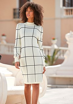 Checkered Sweater Dress product image (F01069.BKCR_1)