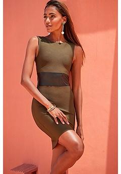 Faux Leather Detail Bandage Dress product image (F01070KH_1)