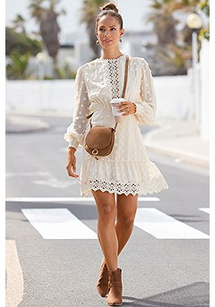 Crochet Detail Dress product image (F01073-CR)