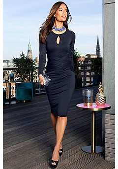 Long Sleeve Key Hole Bodycon Dress product image (F02006NV_1)