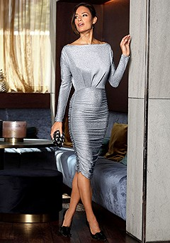Long Sleeve Boat Neck Bodycon Dress product image (F02007BLSL_1)