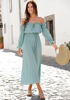 Ruffled Carmen Style Dress product image (F02016MINT_1)
