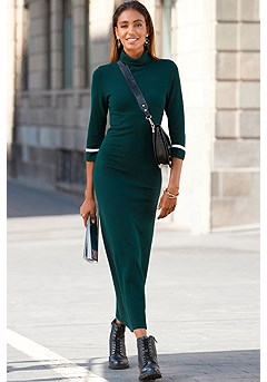 Ribbed Turtle Neck Maxi Dress product image (F02020-DRKG_1)