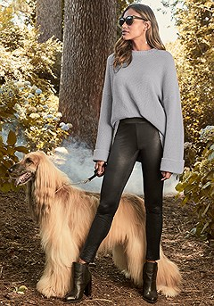 Oversized Cable Knit Sweater, Faux Leather Print Leggings product image (F03002.GY.1-S)