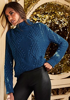 Turtleneck Cable Knit Sweater product image (F03003-NV-K)