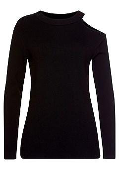 Side Slit Cutout Sweater, High Waisted Jeggings product image (F03004BK_2)