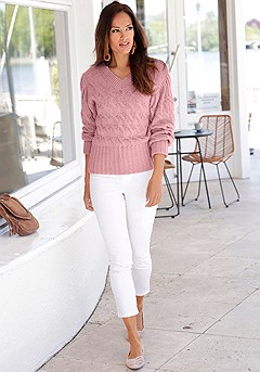 V-Neck Cable Knit Sweater product image (F03011ODRS_FV-1M)