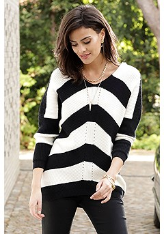 V-Neck Striped Sweater product image (F03012BKCR_FV-3)