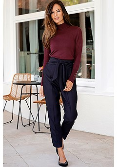 Mock Neck Ribbed Cuff Sweater, Tie Front High Waisted Pants product image (F03014BKBY_F09005NV_1)