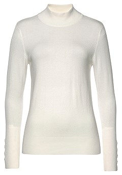 Mock Neck Ribbed Cuff Sweater product image (F03014WH_3)
