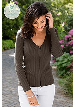 Zipper Detail Ribbed Sweater product image (F03016OL_1)
