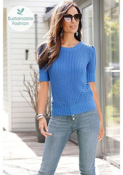 Knitted Short Sleeve Sweater product image (F03017BL_X38172DE_1)