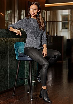 Glitter V-Shape Ribbed Detail Sweater product image (F03018BKSL_F09001BK_1)
