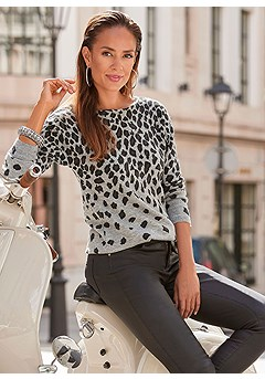 Animal Print Sweater, Coated Skinny Jeggings product image (F03019.LE.BS)