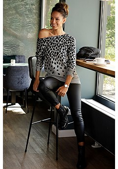 Animal Print Sweater, Coated Skinny Jeggings product image (F03019.LE.F09007.BK.3)