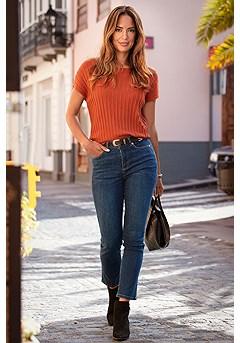 Dolman Short Sleeve Sweater, Straight Leg Denim Pants product image (F03024.RT.F09016.DE.2.1)