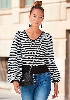 V-Neck Striped Sweater product image (F03037BKWH_22)