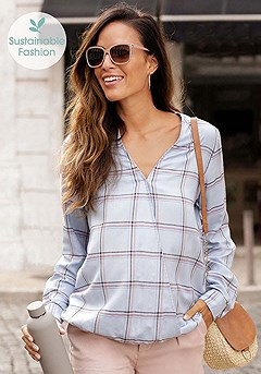 Plaid Cutout Blouse, Highwaist Chino Shorts product image (F04002.LB.F11001_6)