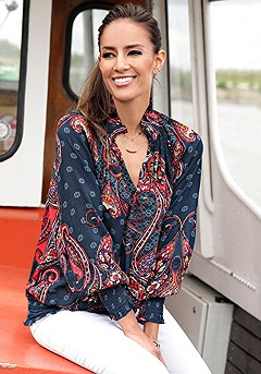 Smocked Pattern Blouse product image (F04003RDNV_1)