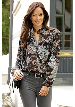 Ruffled Button Up Blouse product image (F04010.BKPR)
