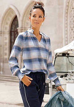 Plaid Long Sleeve Blouse, Cargo Joggers product image (F04014.BLPK.F09012.NV_I.1)