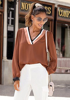 Contrast V-Neck Blouse, Structured Cargo Pants product image (F04015.BR.F09010.WH_I.1)