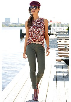 Floral Keyhole Tank Top, High Waisted Jeggings product image (F05002MUPR_F09002OL_X60033WI_3)