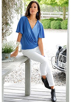 Butterfly Sleeve Surplice Blouse, Skinny Leg Cropped Pants product image (F05012BL_FV)