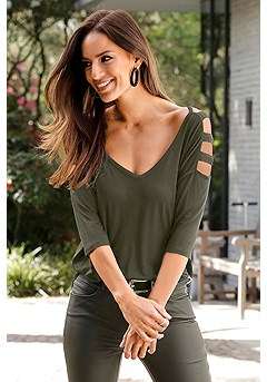 Cold Shoulder Top product image (F05013OL_1)